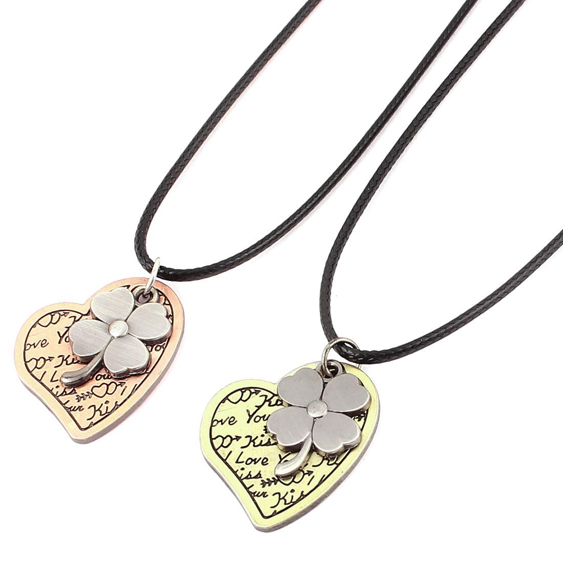 Women Men Heart Flower Pendant Chain Necklace Choker Gift 2pcs