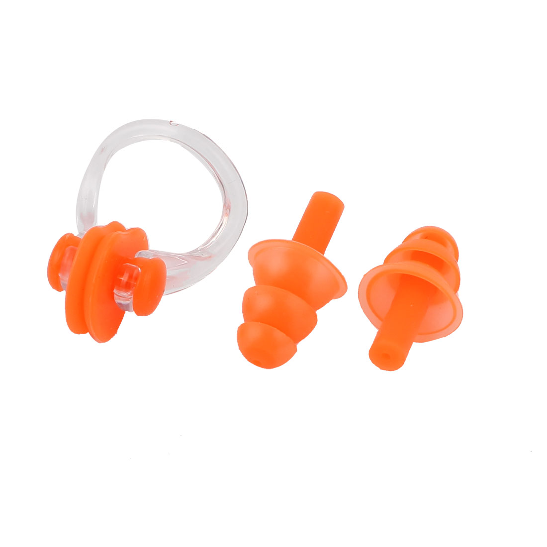 Pair Soft Silicone Hearing Protection Swim Nose Clip Noseclip Orange