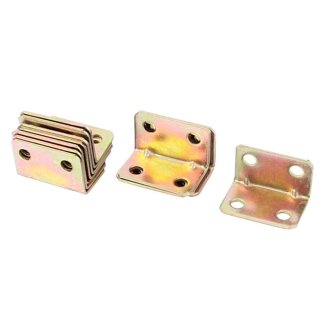Furniture Fastener 4 Hole Corner Brace Angle Brackets Brass Tone 15pcs