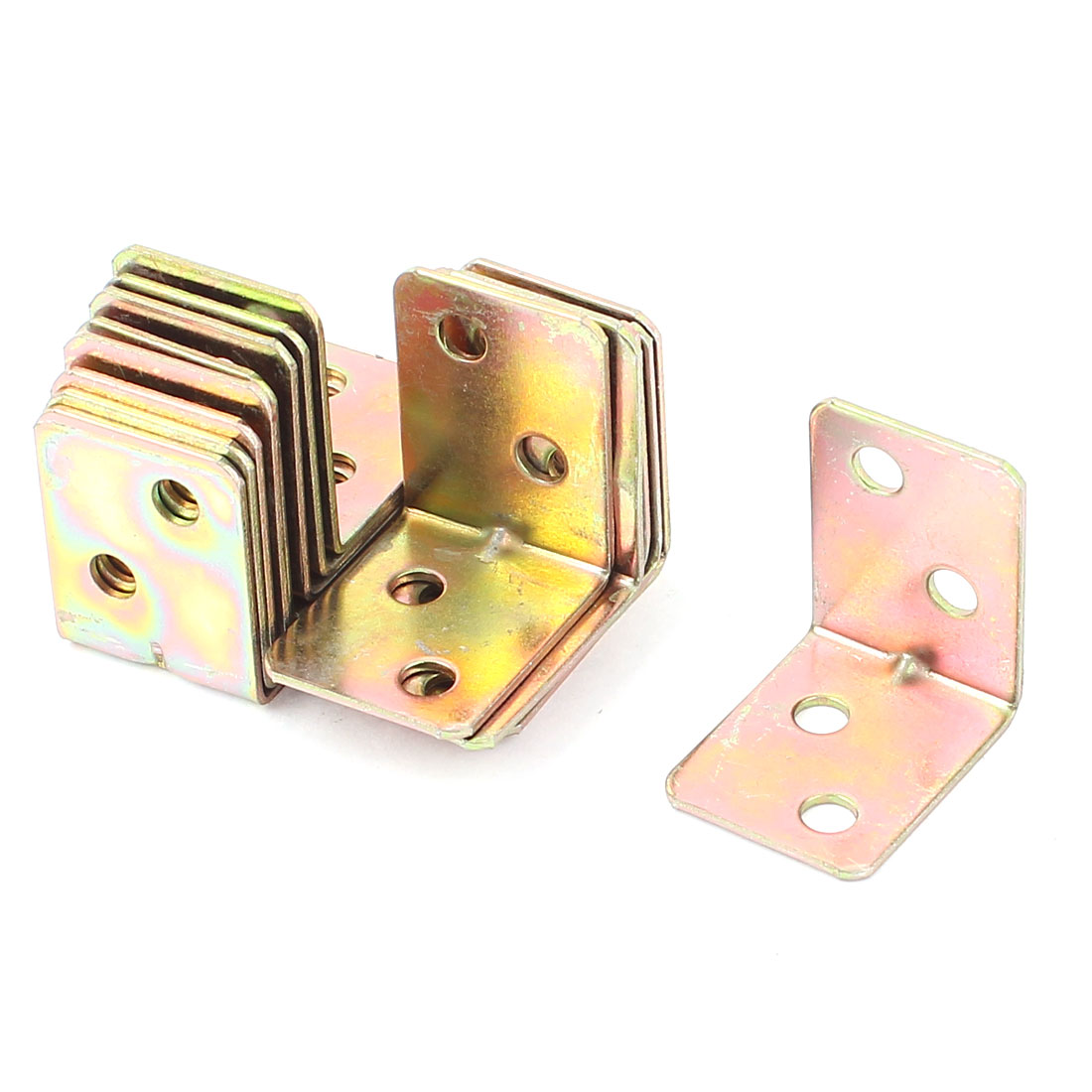 15pcs Shelf Support Corner Braces Fixing Repair Angle Brackets Brass Tone