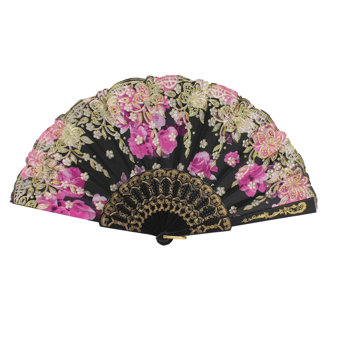 Plastic Rims Floral Folding Foldable Hand Dancing Fan Purple Black