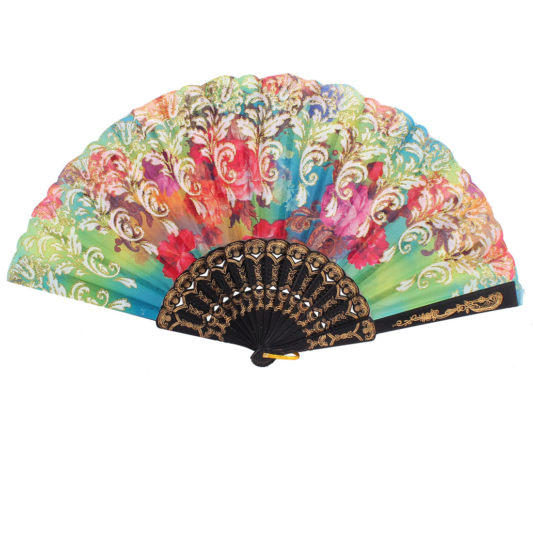 Plastic Rib Floral Pattern Folding Hand Dancing Fan Wedding Party Gift