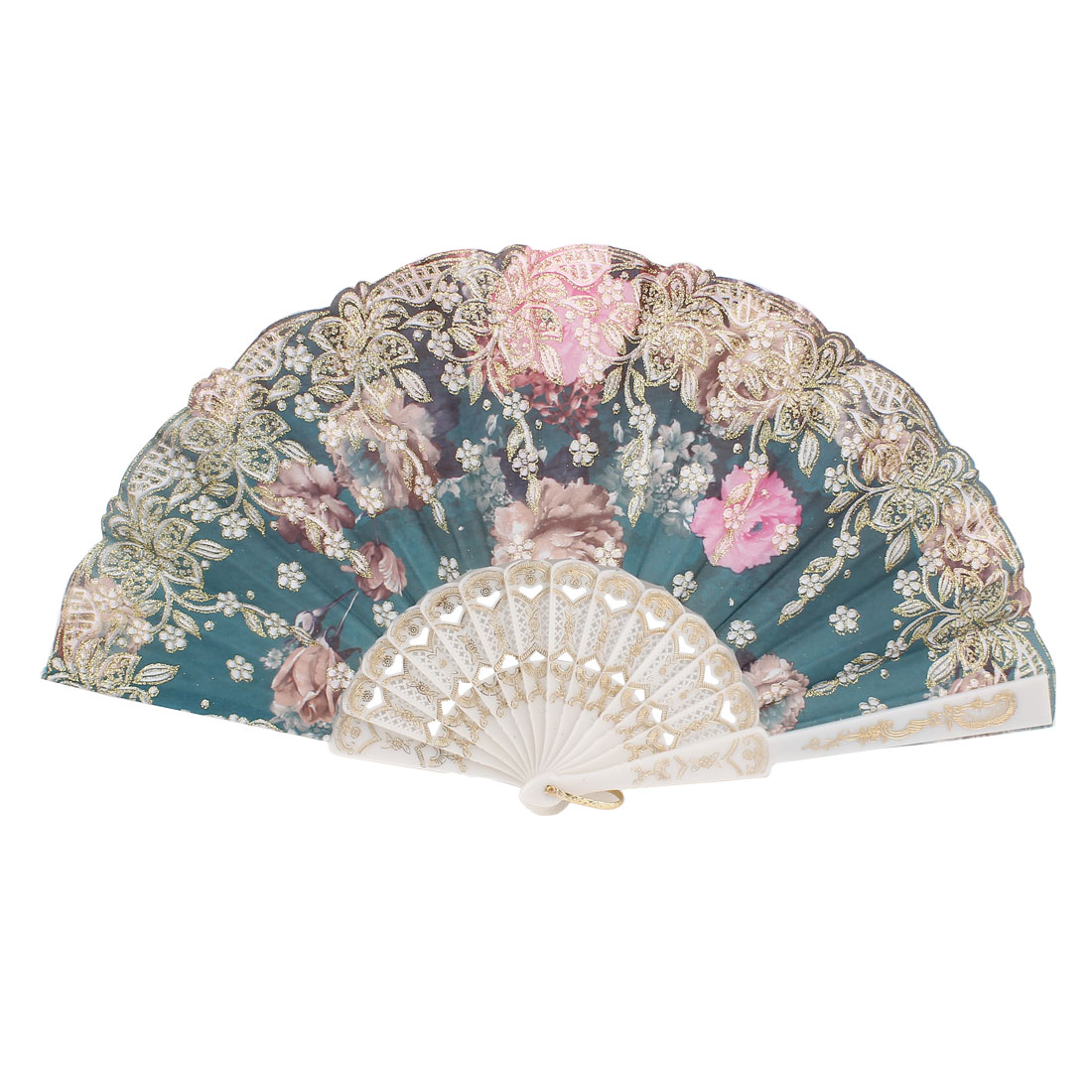 Plastic Floral Folding Hand Fan Dancing Party Gift Dark Green