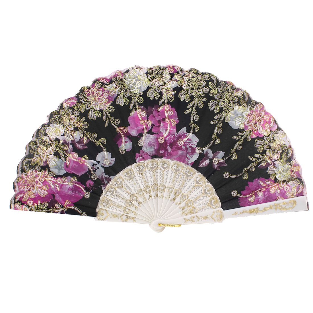 Floral Pattern Glitter Folding Dancing Hand Fan Wedding Party Gift Purple Black