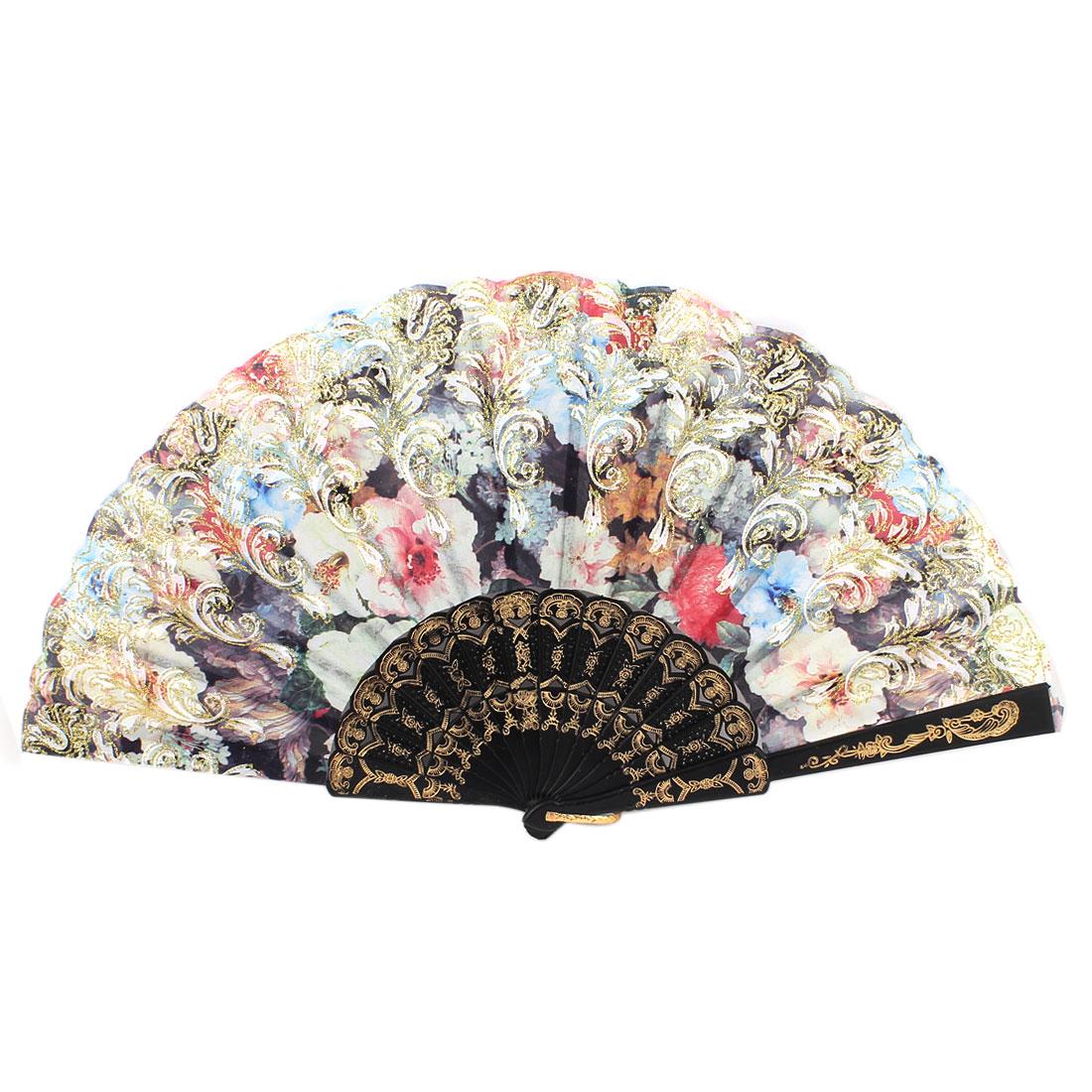 Plastic Flower Floral Print Folding Hand Fan Dancing Wedding Party Favor