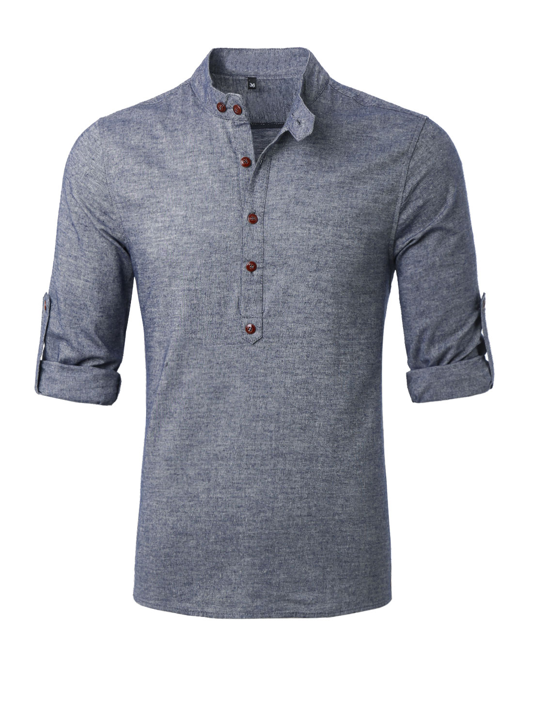 Men Half Button Closed Roll Up Sleeves Leisure Henley Shirt Light Cool Gray M
