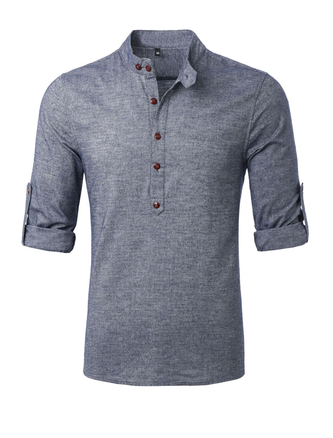 Men Button Upper Long Sleeves Slipover Leisure Henley Shirt Light Cool Gray L