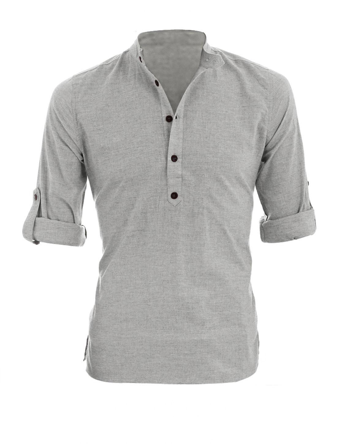 Men Button Cuffs Long Sleeves Regular Fit Henley Shirt Light Gray L