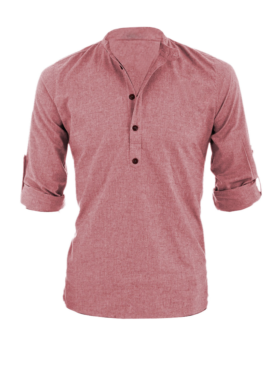 Men Long Roll Up Sleeves Heathered Henley Shirt Red M