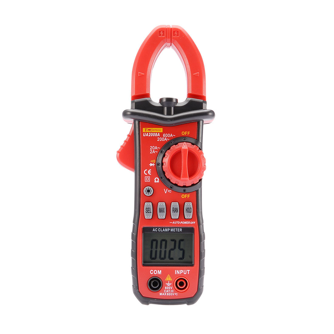 UA2008A Volt Tester Ammeter AC 600A Digital Clamp Meter Multimeter w Flashlight