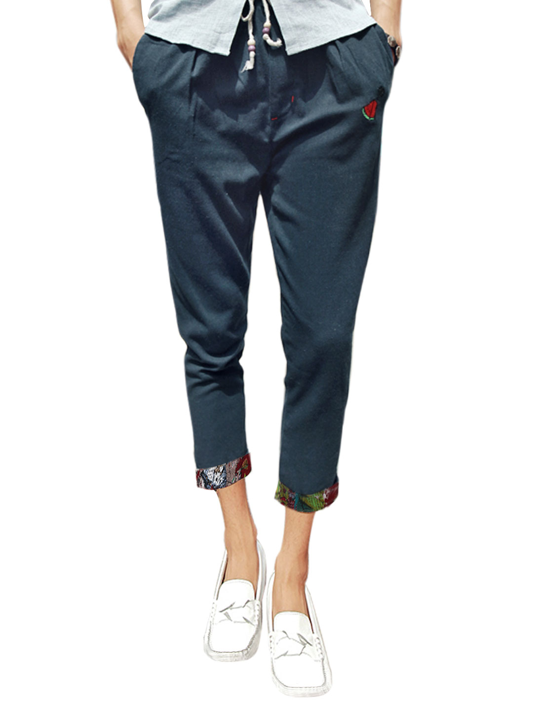 Men Mid Rise Pockets Drawstring Waist Cropped Trousers Navy Blues W30