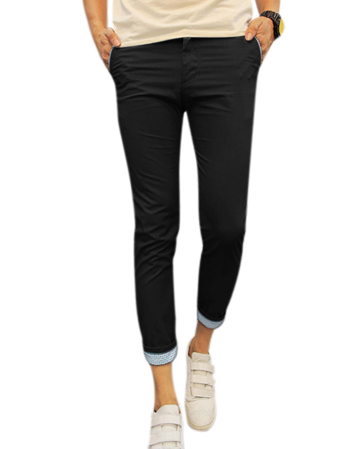 Men Mid Rise Belt Loop Pockets Slim Fit Cropped Pants Blacks W28