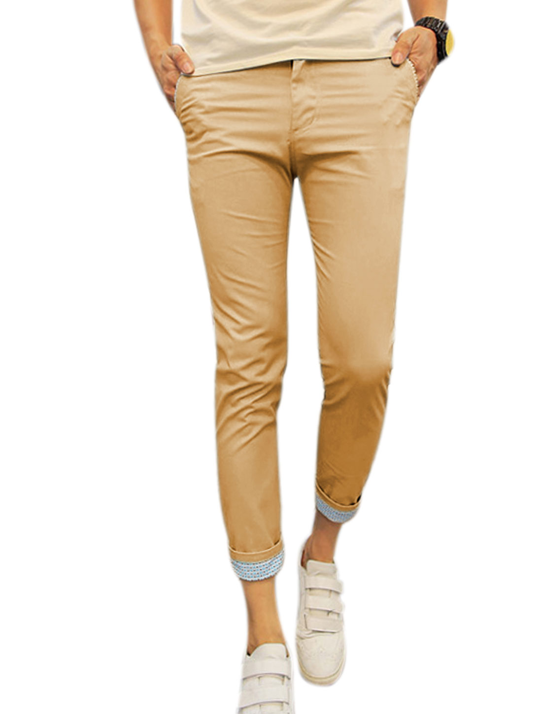 Men Mid Rise Zip Fly Pockets Slim Fit Cropped Trousers Khakis W28