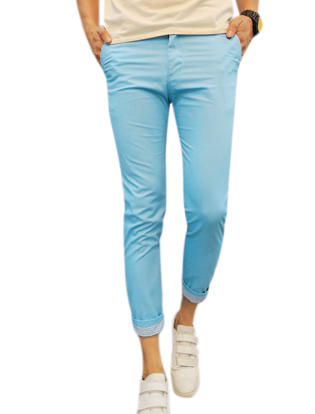 Men Mid Waist Pockets Slim Fit Cropped Trousers Sky Blue W28