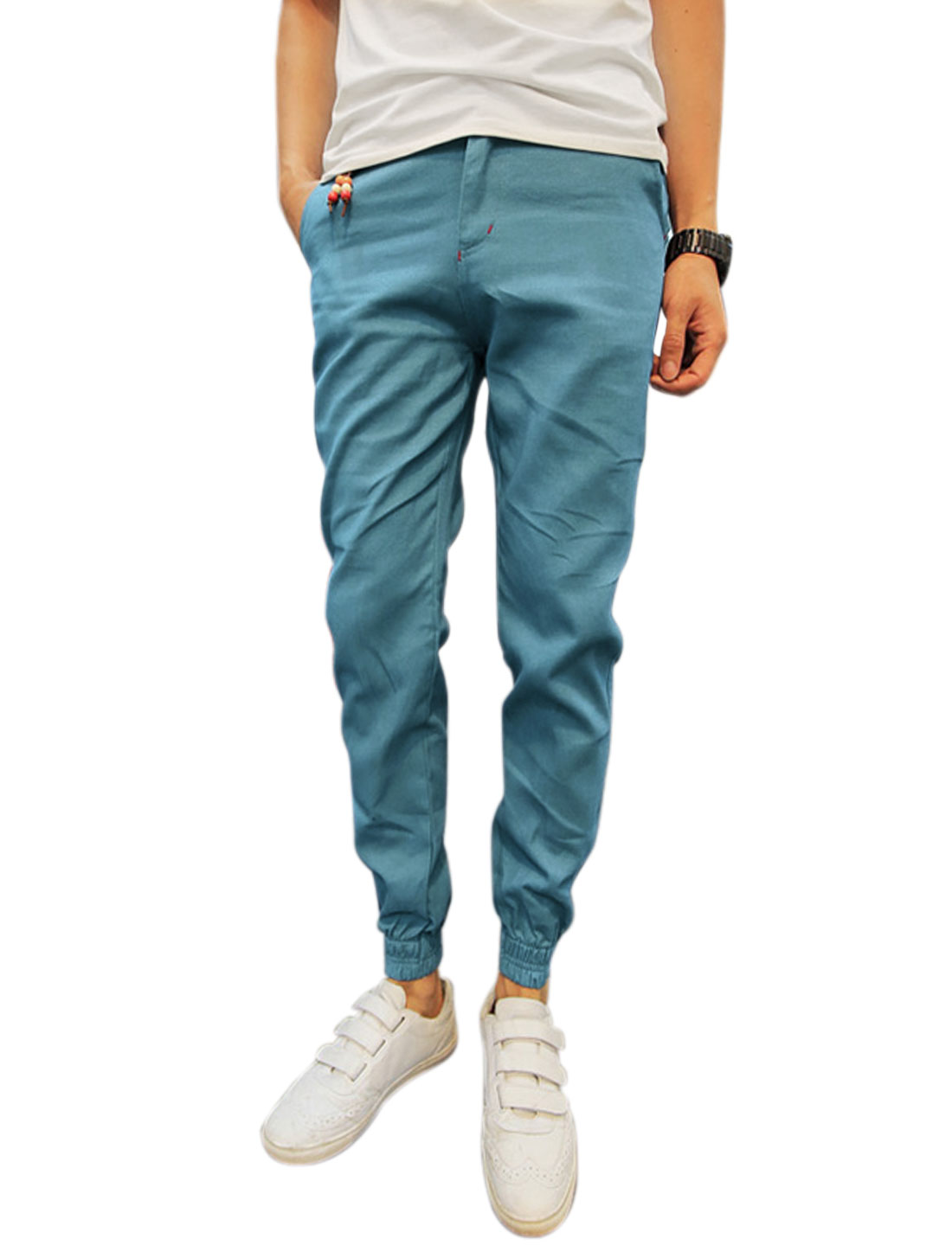 Men Mid Rise Zip Fly Belt Loop Pockets Pants Sky Blue W30