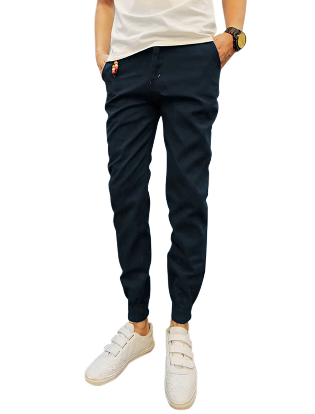 Men Mid Rise Zip Fly Pockets Elastic Cuffs Trousers Navy Blue W30