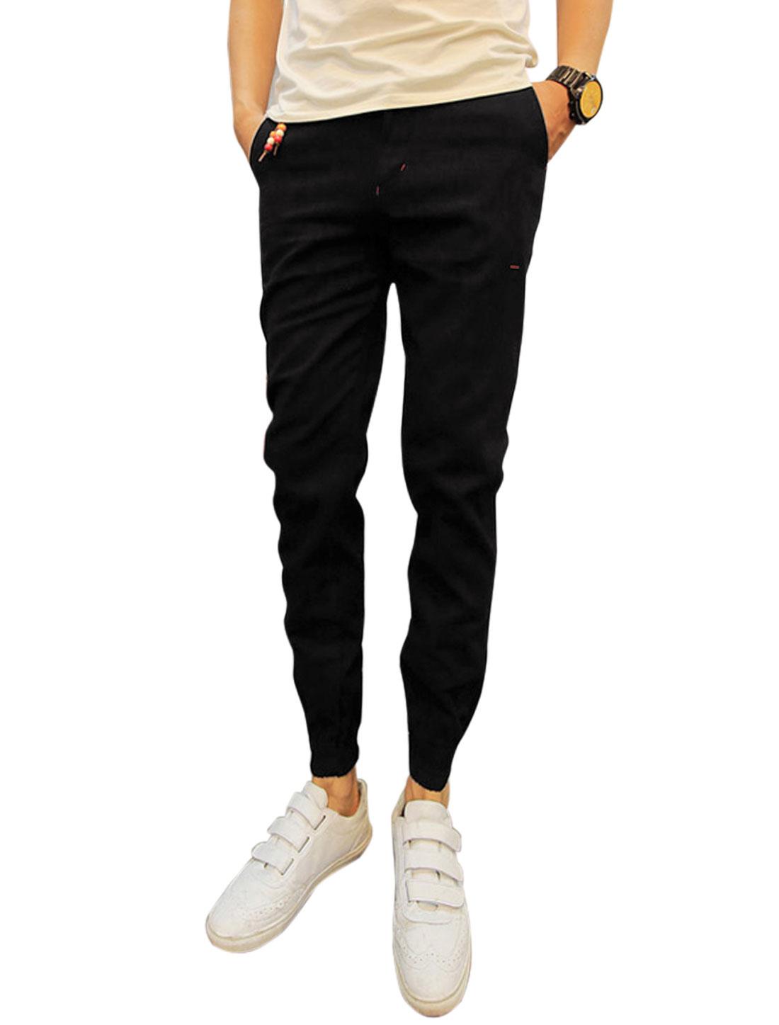 Men Belt Loop Pockets Elastic Cuffs Leisure Pants Black W30