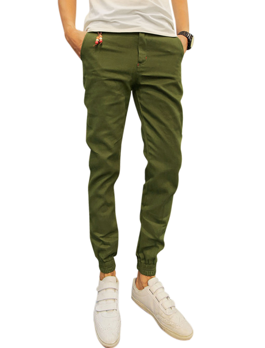 Men Mid Rise Pockets Elastic Cuffs Leisure Trousers Army Green W30