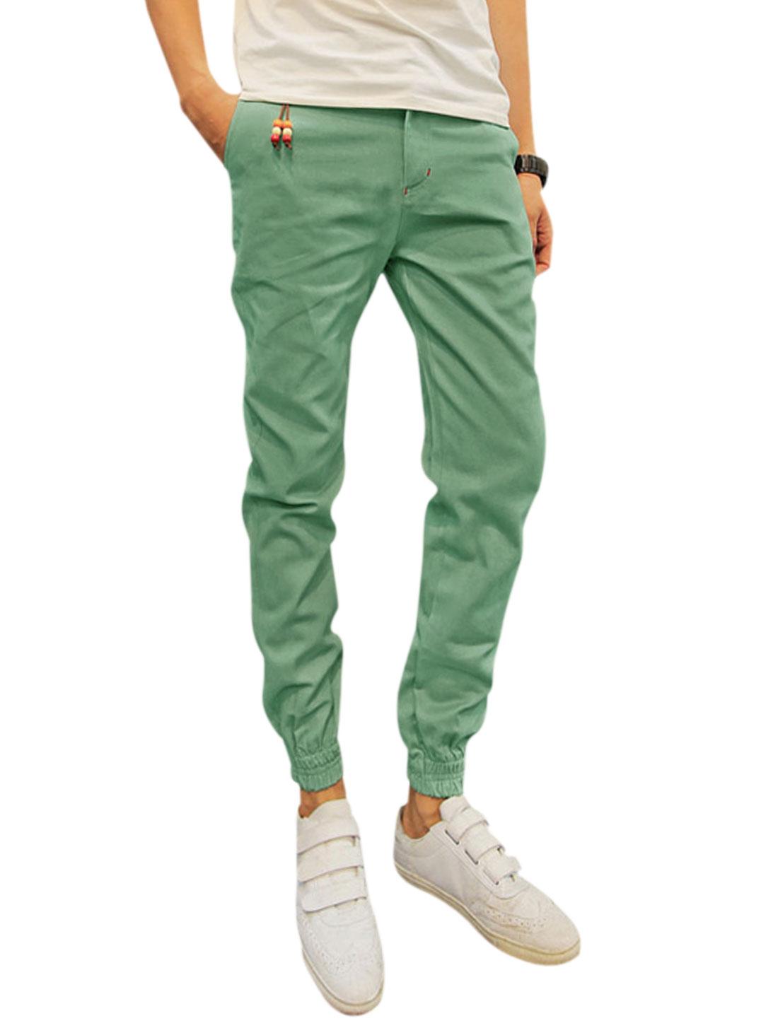 Men Belt Loop Pockets Elastic Cuffs Leisure Pants Mint W30