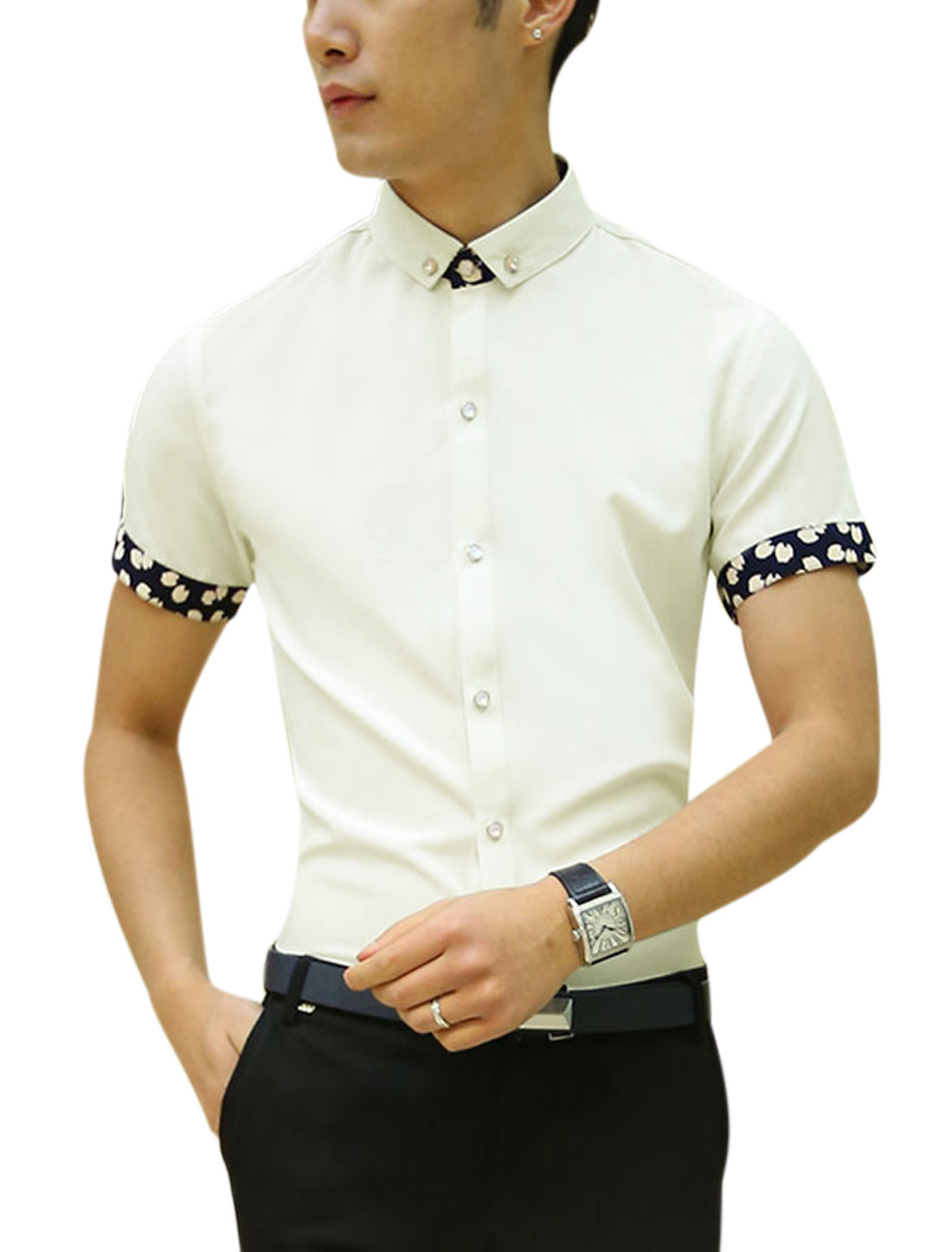 Men Short Sleeve Point Collar Button Down Casual Shirts White S