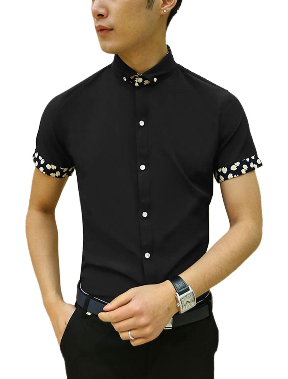 Men Short Sleeve Point Collar Button Down Slim Fit Shirts Black S