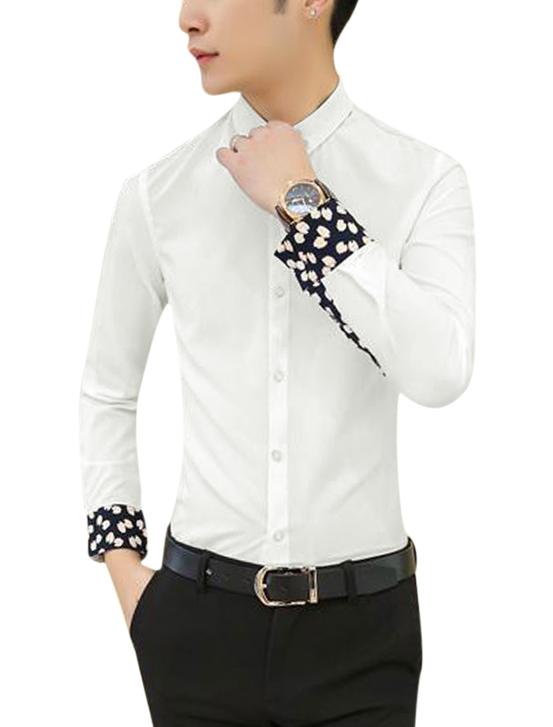 Men Long Sleeve Point Collar Button Down Leisure Shirt White S