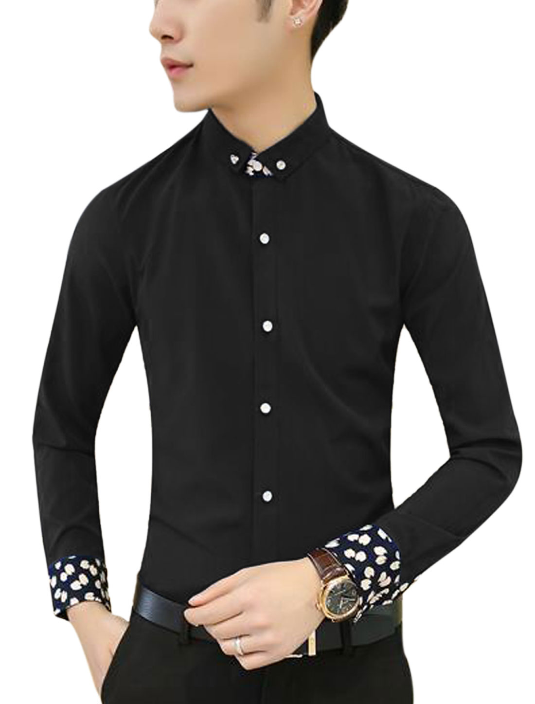 Men Long Sleeve Point Collar Button Down Casual Slim Fit Shirt Black S
