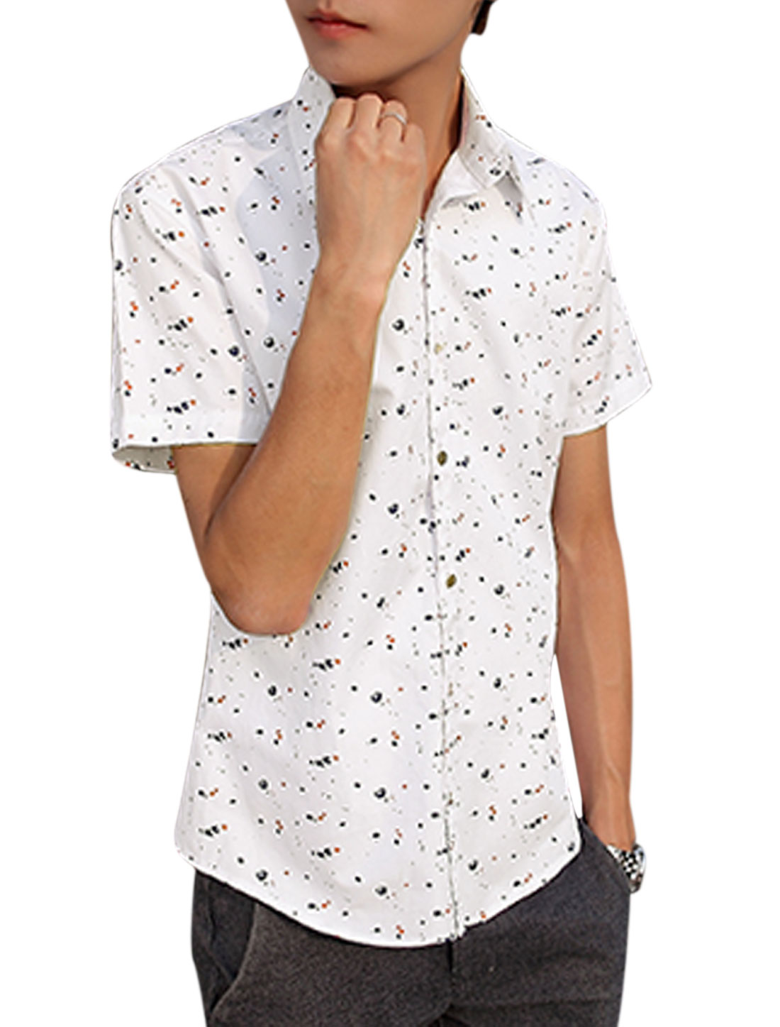 Men Novelty Pattern Slim Fit Button Down Casual Shirts Whites S