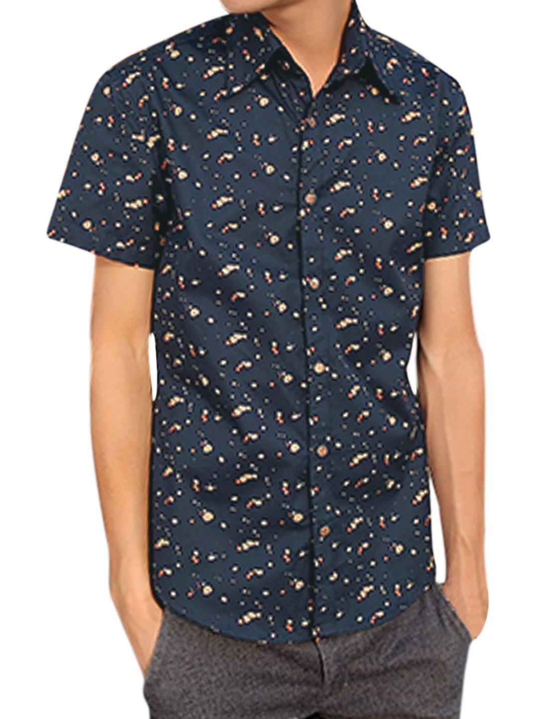 Men Short Sleeve Novelty Print Button Down Shirts Navy Blue S