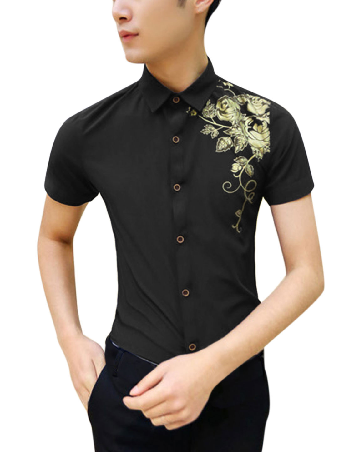 Men Floral Pattern Short Sleeve Slim Fit Button Down Shirt Black S