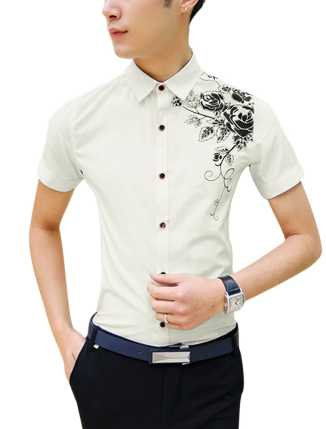 Men Short Sleeve Floral Print Button Down Shirts White S