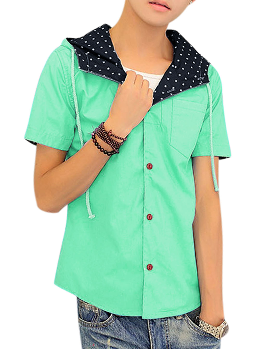 Men Button Down Novelty Print Casual Hooded Shirts Mint S