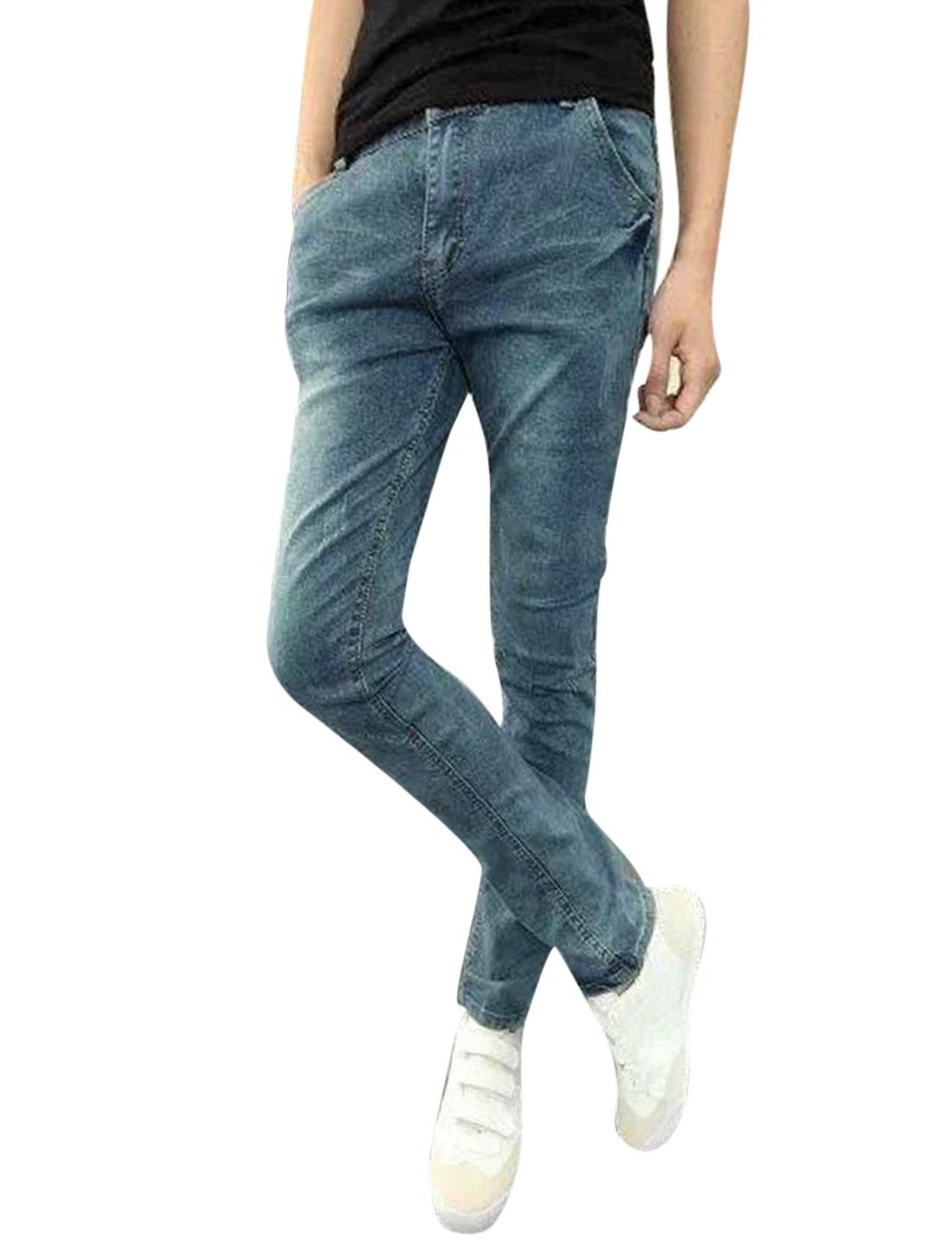 Men Mid Rise Classic Five Pockets Leisure Skinny Jeans Dark Blue W30