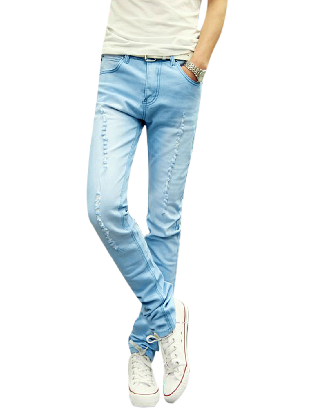 Men Distressed Slim Fit Washed Denim Casual Jeans Light Blue W30