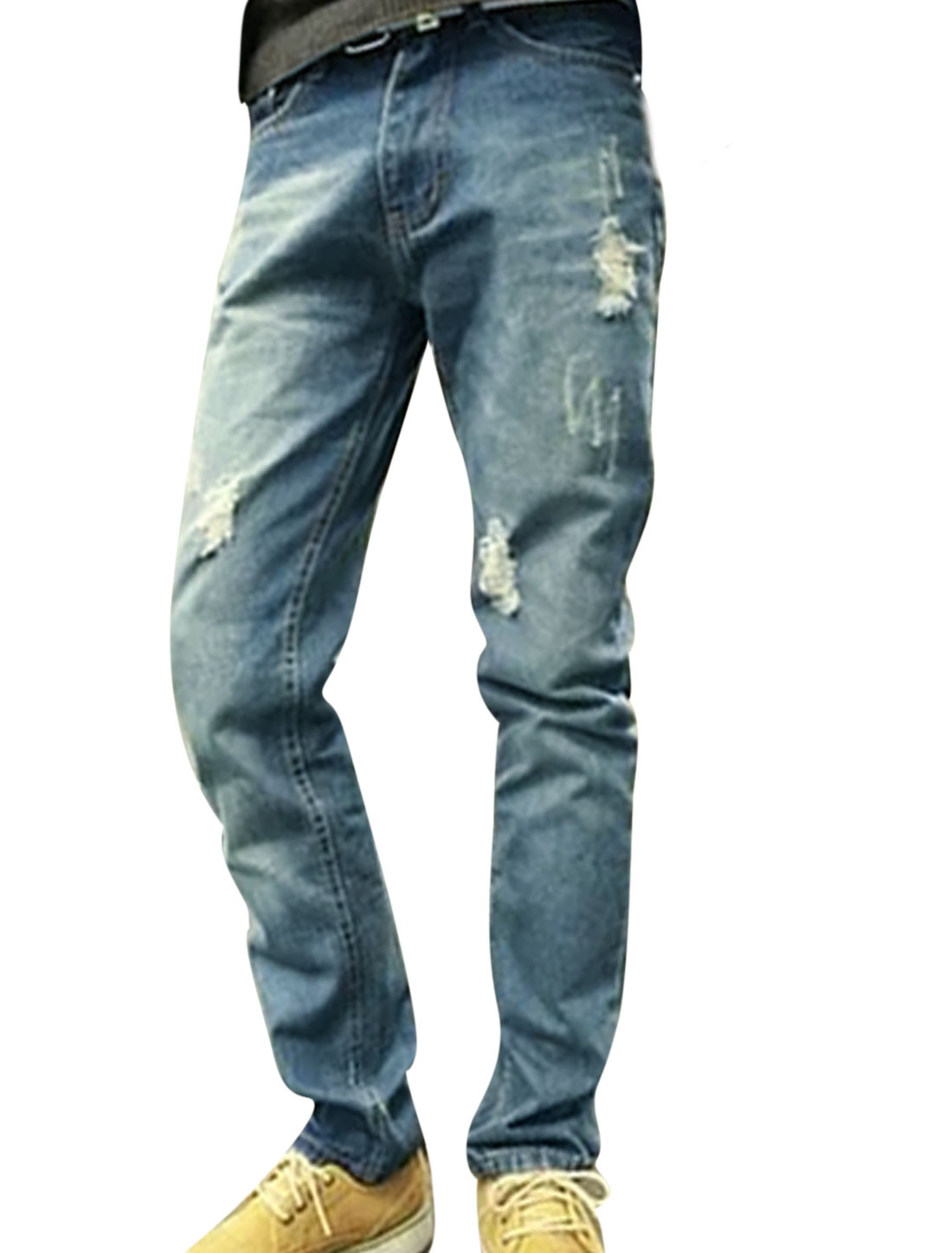 Men Destroyed Button Closed Slant Pockets Zip Fly Casual Jeans Blues W30