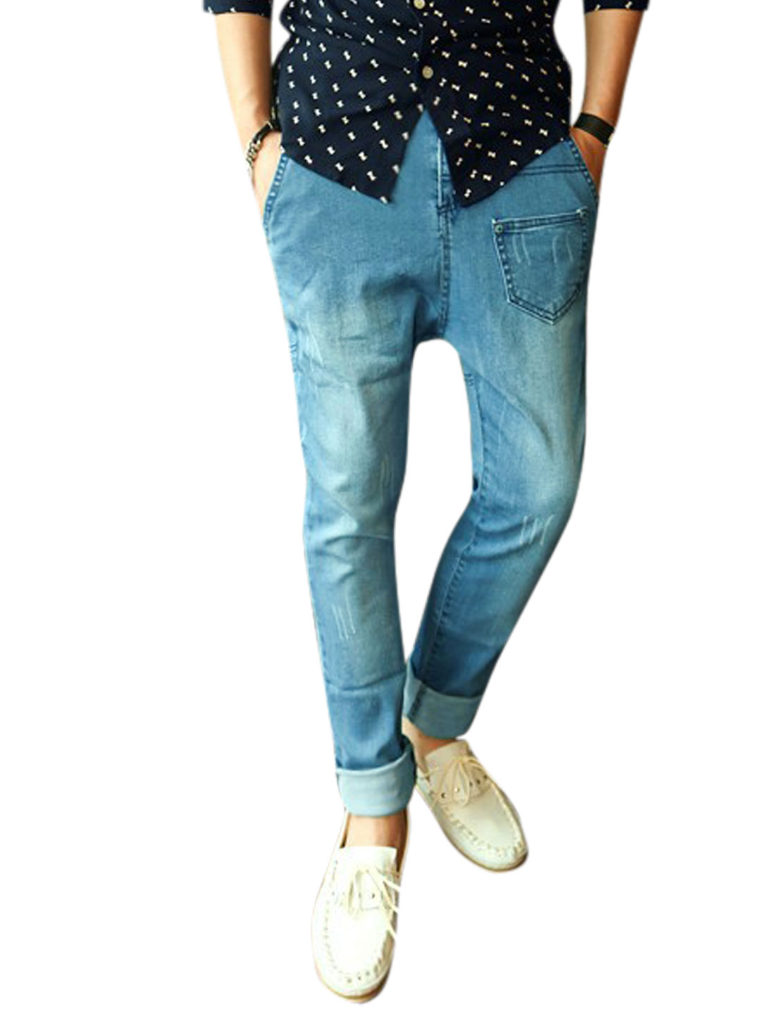 Men Three Pockets Front Washed Denim Mid Rise Casual Jeans Blue W30