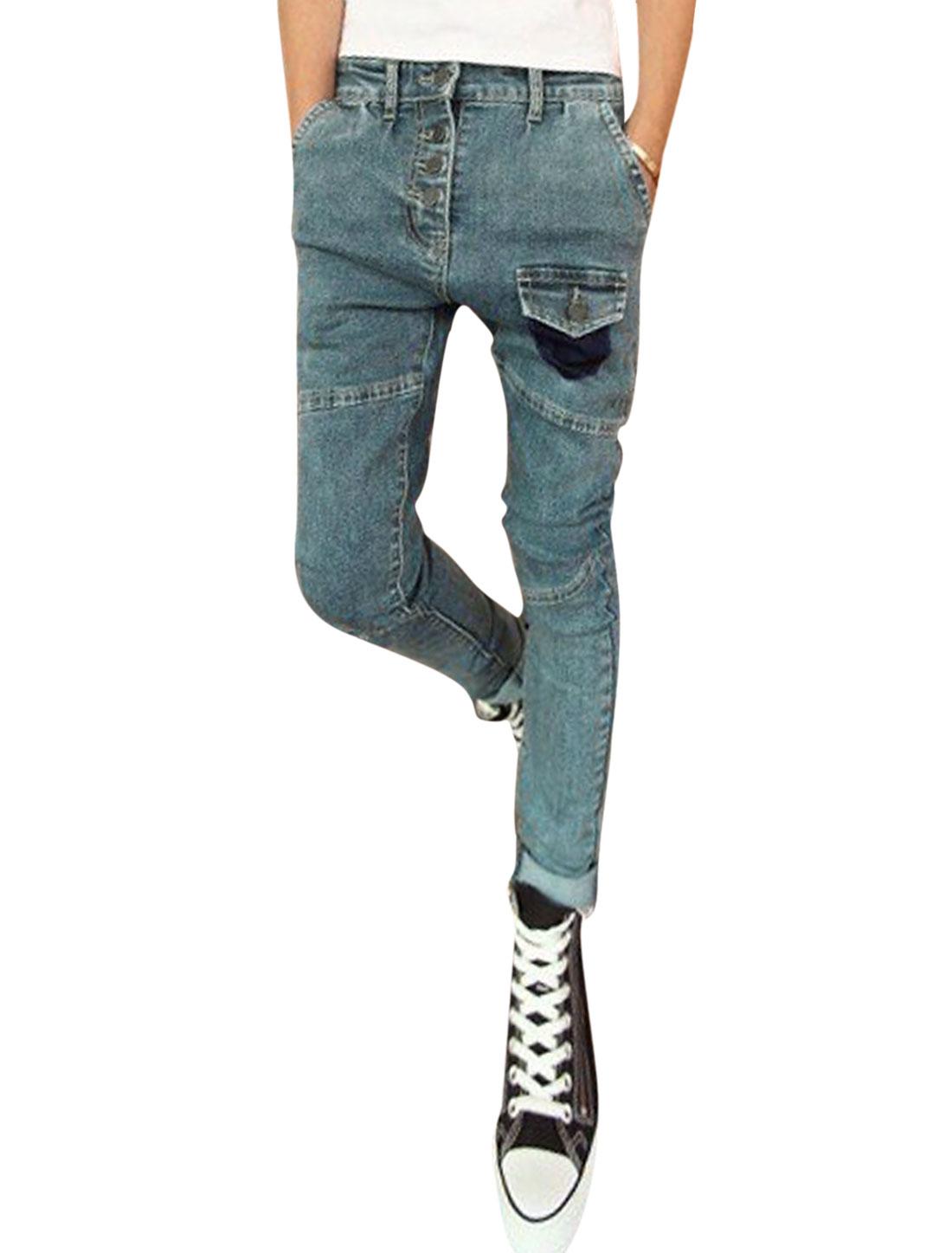 Men Mock Pocket Front Four-Button Closure Jeans Light Cool Gray W30