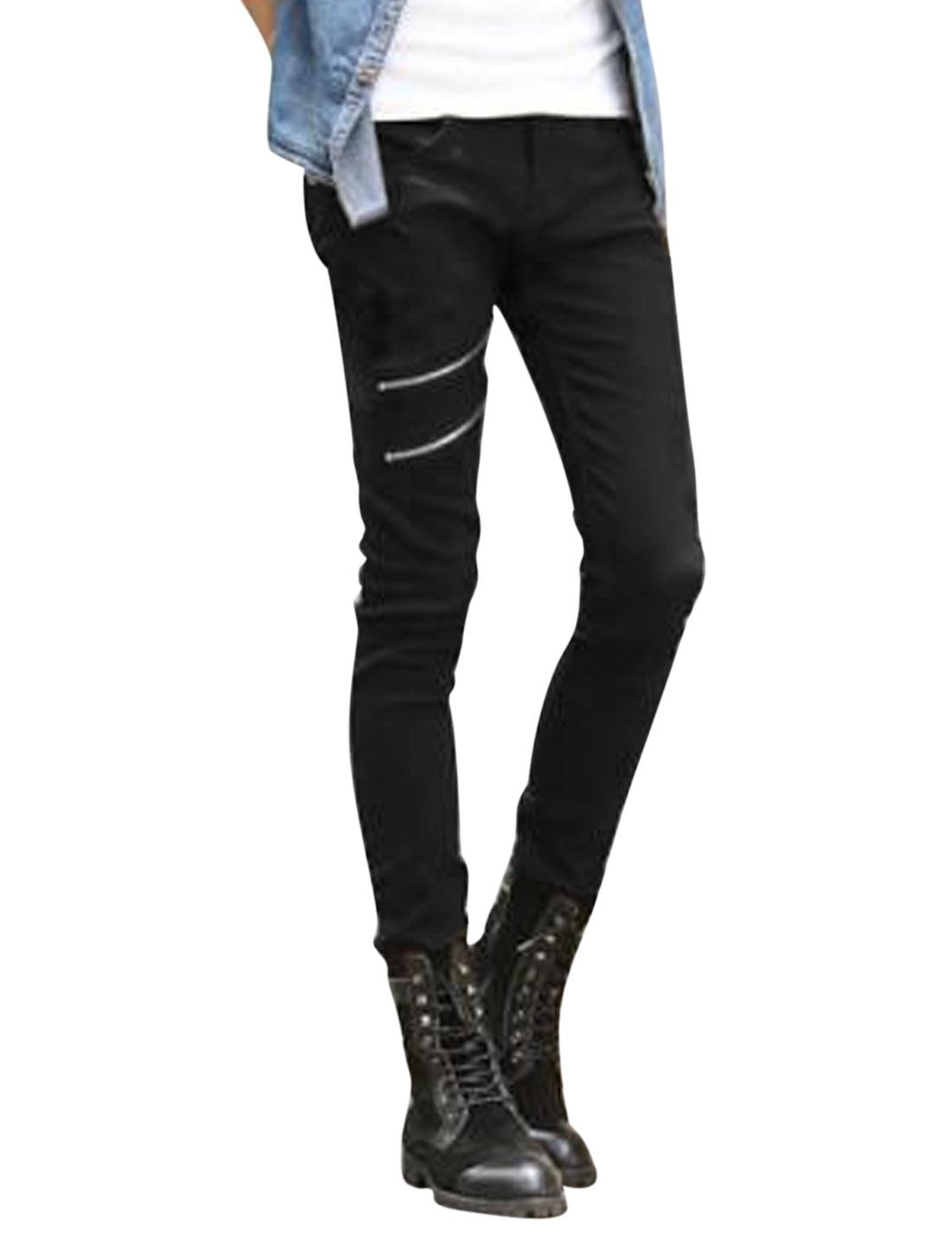 Men Mid Rise Zip Fly Zipper Decor Skinny Casual Pants Black W30