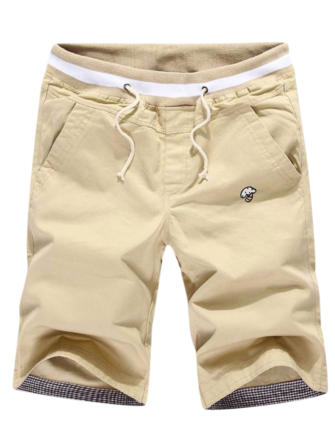 Men Drawstring Waist Two Slant Pockets Straight Leg Casual Shorts Khaki W30