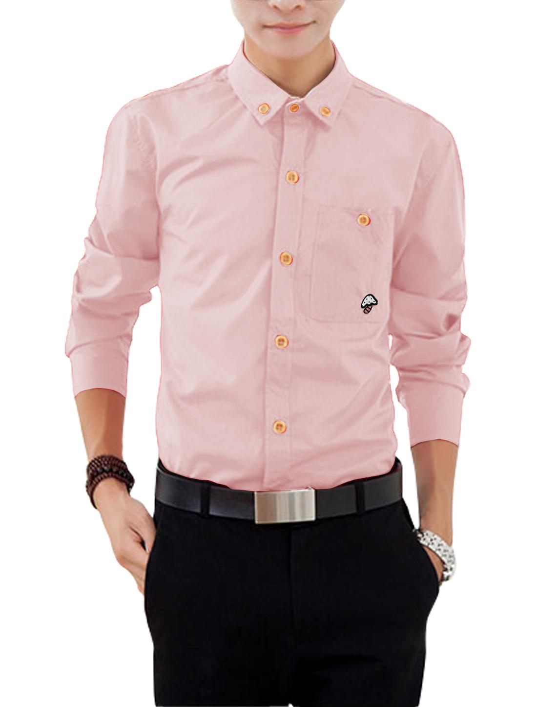 Men Long Sleeves Panel Detail Casual Shirts Pink M