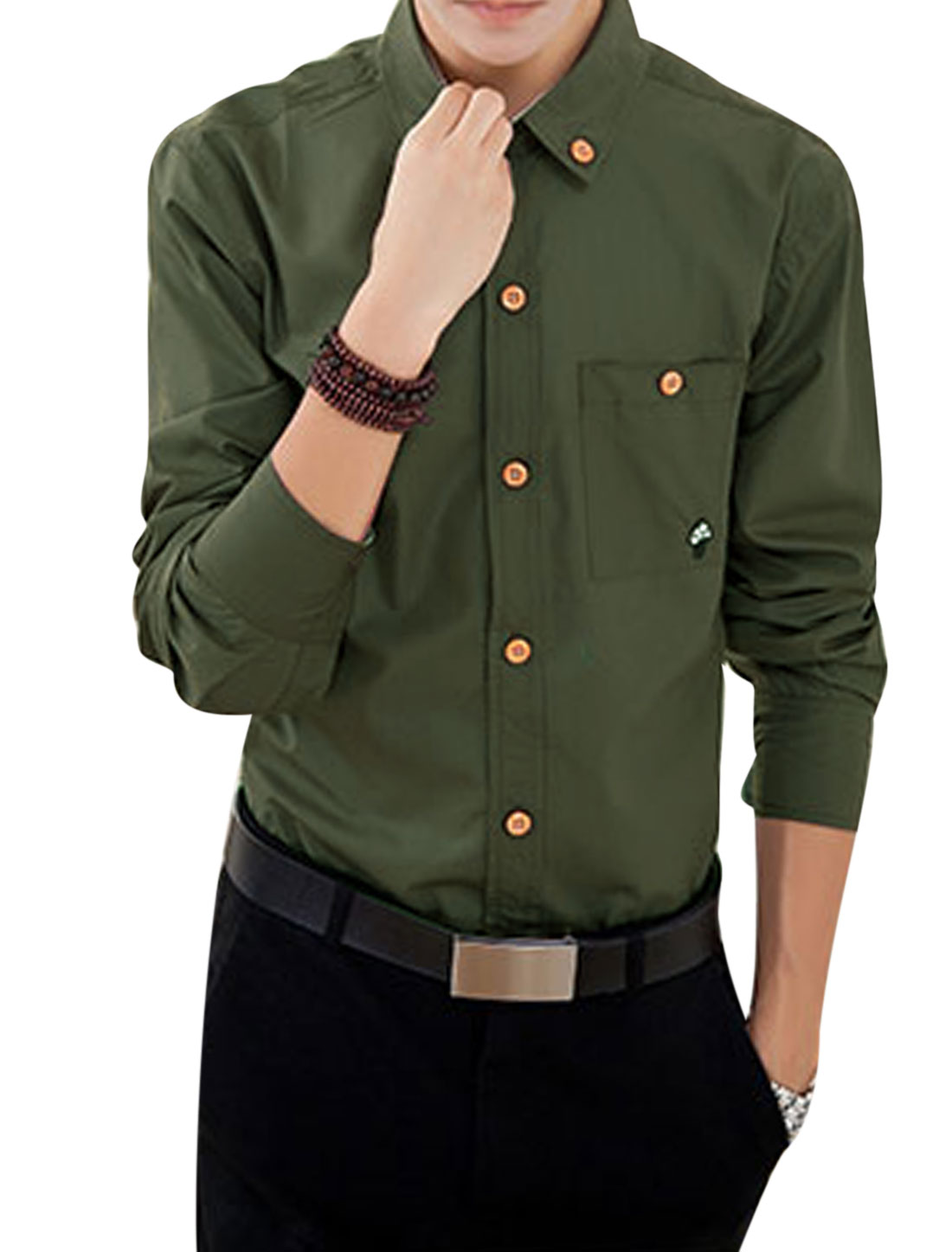 Men Long Sleeves Buttoned Pocket Casual Shirts Army Green M