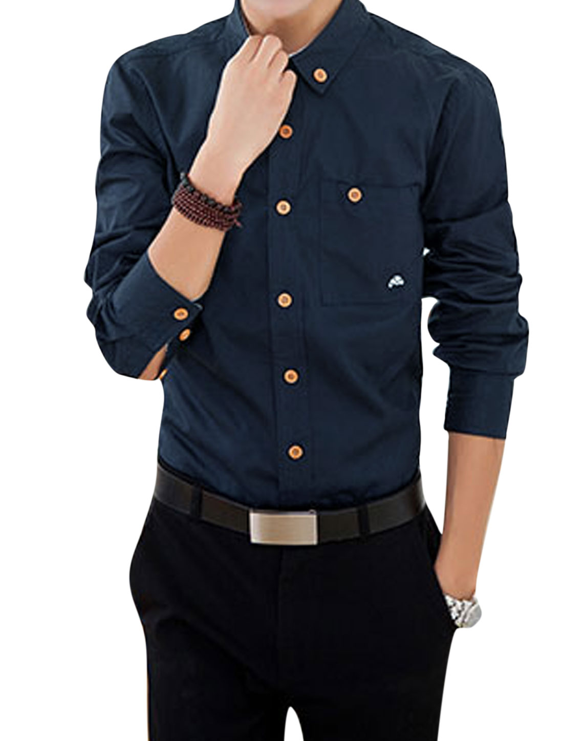 Man Point Collar Buttoned Chest Pocket Casual Shirts Navy Blue M
