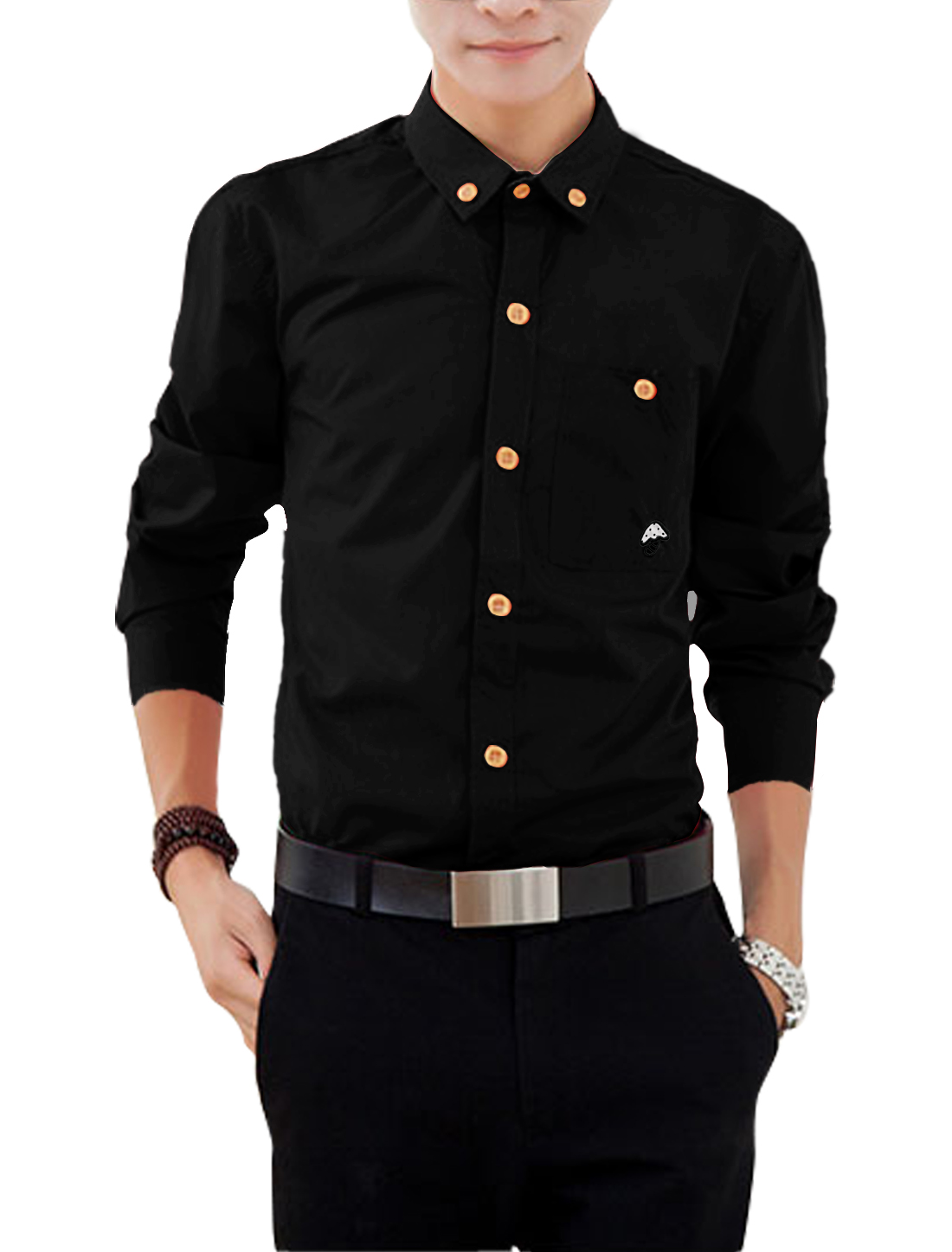 Man Long Sleeves Stitching Detail Button Down Shirts Black M