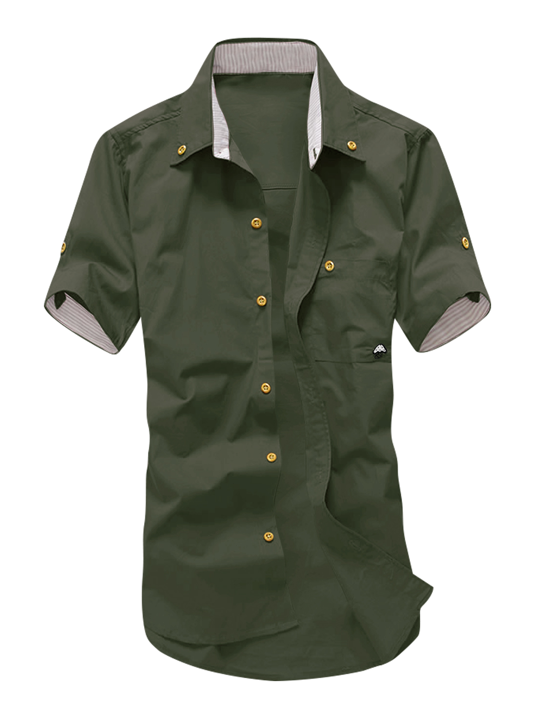 Men Short Sleeves Buttoned Pocket Casual Shirts Army Green M