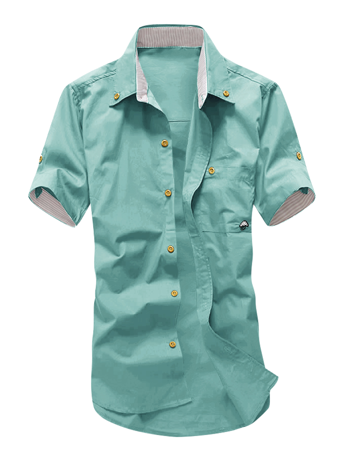 Man Short Sleeve Chest Pocket Button Down Shirt Dusty Green M