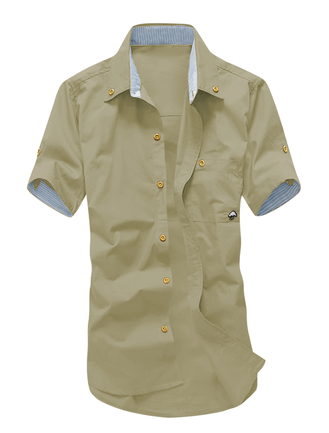 Men Roll Up Sleeves Stripes Detail Casual Shirts Khaki M
