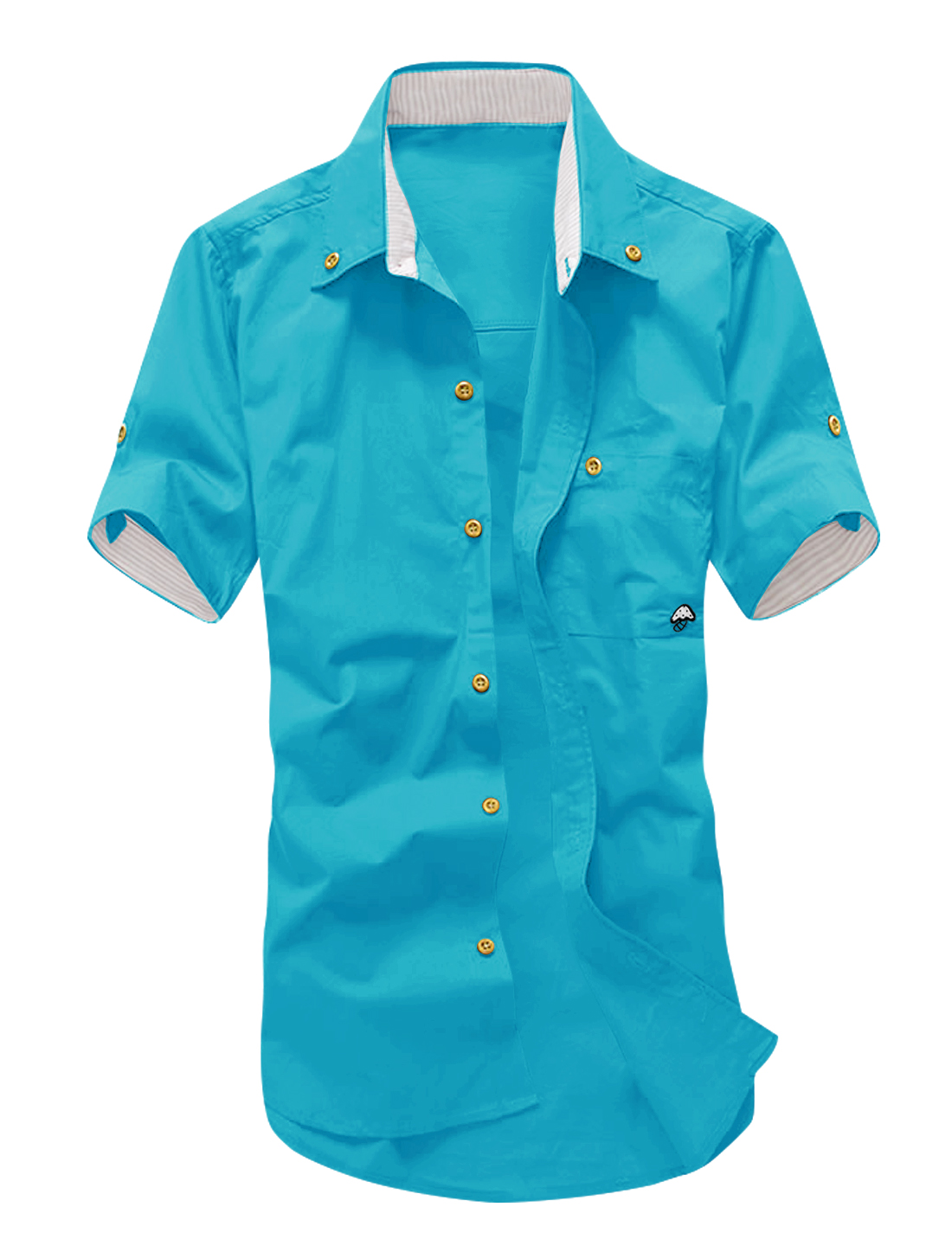Men Roll Up Sleeve Mushroom Embroidery Shirt Turquoise M