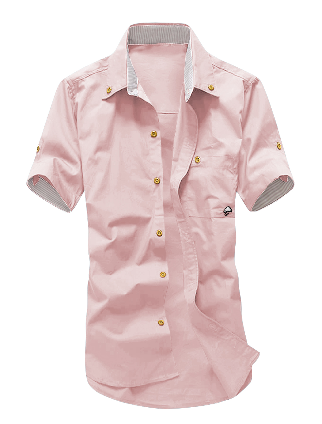 Men Short Roll Up Sleeves Panel Detail Casual Shirts Light Pink M