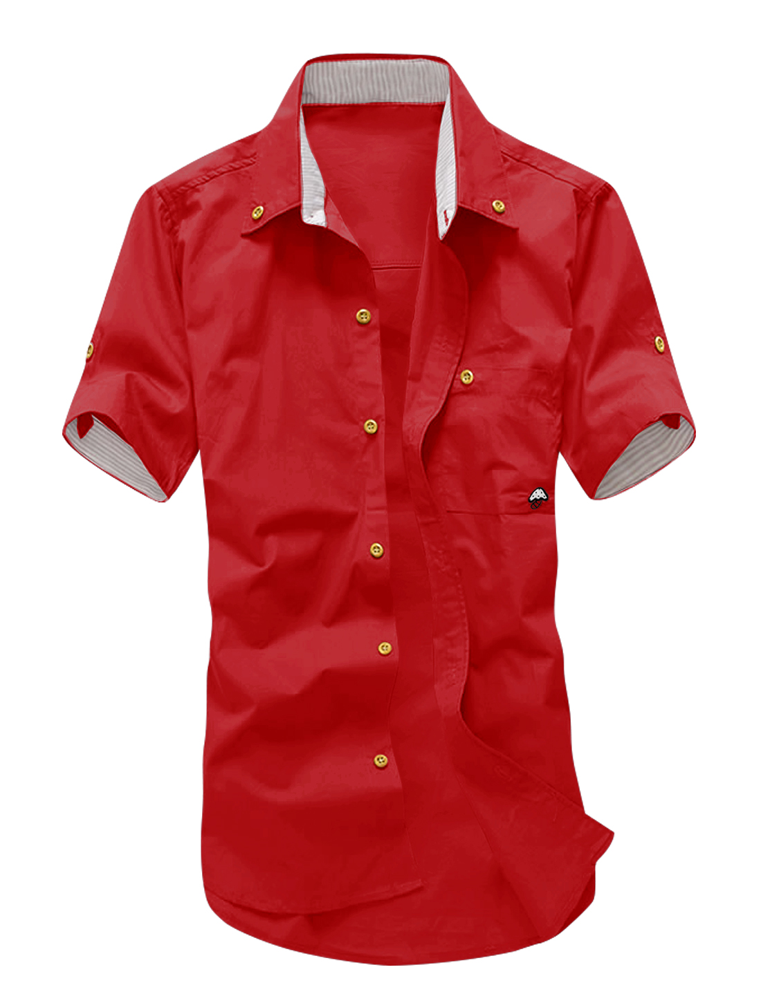 Man Short Sleeves Mushroom Embroidery Button Down Shirt Red M