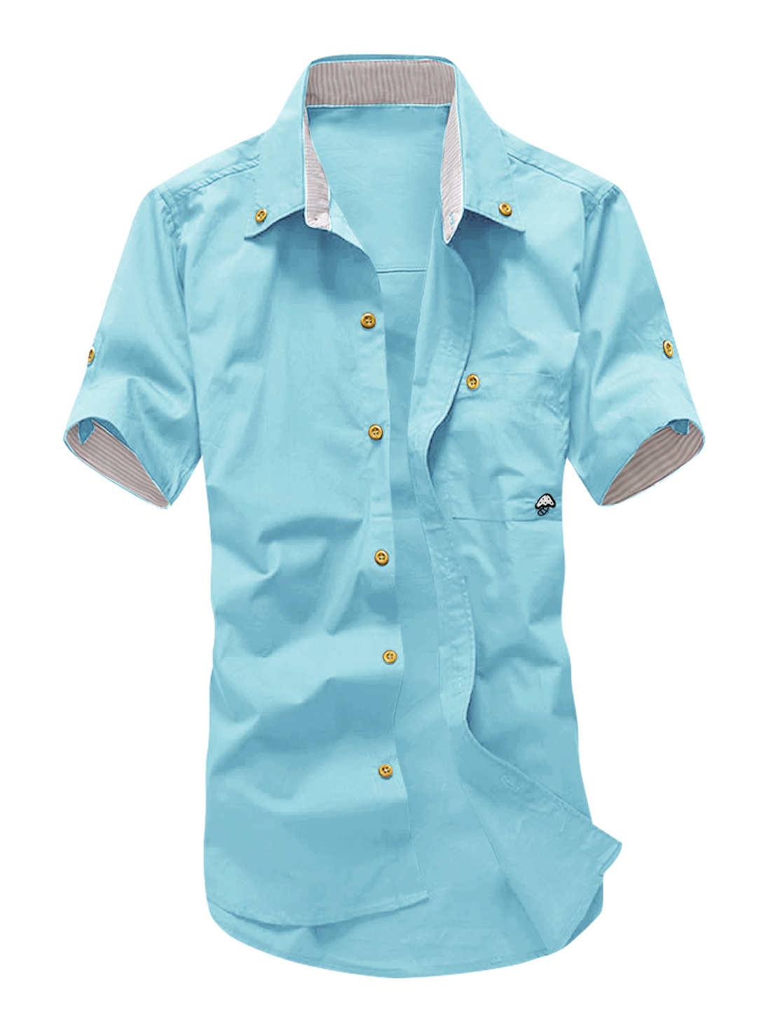 Man Roll Up Sleeves Embroidered Button Down Shirts Sky Blue M